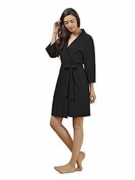 2dbc4543877a1 SIORO Kimono Robe Plus Size Soft Lightweight Robes Cotton Nightshirts  V-neck Sexy Nightwear Dress Knit Bathrobe Loungewear Short for Women