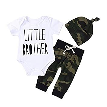 bae0365576f7d 3Pcs Baby Boys Little Brother Camouflage Romper Tops+Pants Leggings+ Hat Outfits  Set (0-6M(Tag70), White&camouflage)