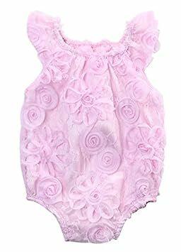 fb5aee43c1e Newborn Infant Baby Girl 3D Lace Floral Romper Jumpsuit Rose Sunsuit  Outfits (0-3 Months