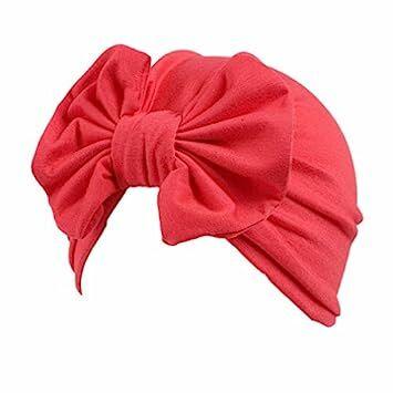 c22e2a0eceb Kollmert Cute Children Baby Girls Boho Bowknot Hat Beanie Scarf Turban Head  Wrap Cap (Red)