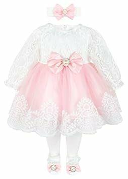 72dd1624d Taffy Baby Girl Newborn Lace Long Sleeve Princess Dress Gown 6 Piece Deluxe  Set 0-3 Months Pink