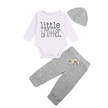 c60fde8b162 Baby Boys Little Brother Bodysuit and Pants Leggings with Hat 3pcs Newborn  Outfits Set Clothes (0-3M