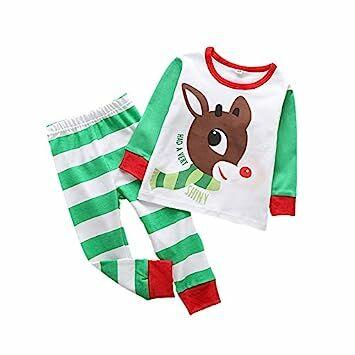 bobora toddler boys girls christmas pajamas long sleeve toppants sleepwear set