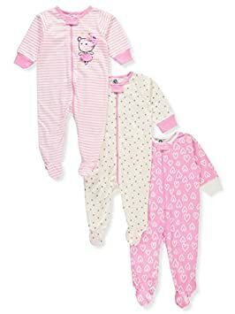 2da250553b Gerber Onesies Baby Girl Sleep N Play Sleepers 3 Pack (6-9 Months