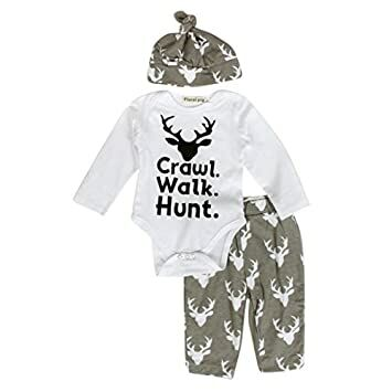 eb955deb6 FEITONG Newborn Infant Baby Boy's Print Romper Tops+Long Pants +Hat (6-12  Months)
