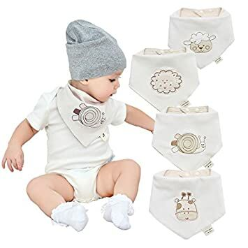 913cd373848 Neutral Organic Baby Bandana Drool Bibs for Boys and Girls 4 Pack-Funny  Soft Cute Unisex Baby Teething Bibs and Embroidery Gender Neutral Bibs for  Newborns