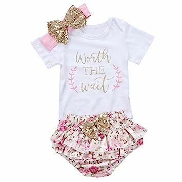 bb9d6ba4f075 3PCS Baby Girls Worth The Wait Print Outfit Clothes Romper Bodysuit Pants  Headband Set (12-24 Months