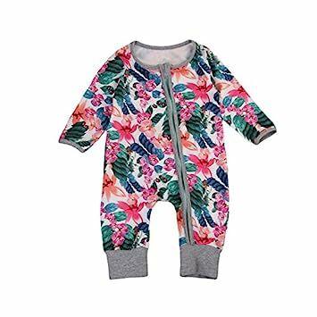a321647b8c5a ITFABS Newborn Baby Girl Floral Sleeper Flower Printed Zipper Front Romper  Jumpsuit Play Wear (70(0-6 Months)