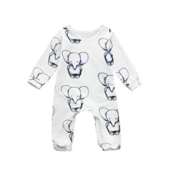acc8a887ff Pollyhb Baby Boys Girls Romper Newborn Infant Baby Cartoon Elephant Romper Jumpsuit  Outfits Clothes (0-3 Months