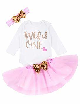 637e24dfd9dd My First Birthday Baby Girl Wild One Romper Tutu Skirt with Gold Headband  3PC Dress Set(9-12M)