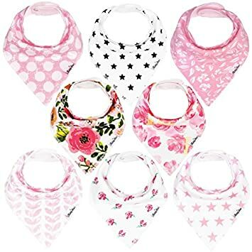 0c2441d154dc0 KiddyStar Bandana Bibs for Girls, 8-Pack Drool Bib Set, Organic,  Adjustable, Soft, Absorbent, Stylish and Chic Prints, Newborn and Baby  Shower Gift for ...