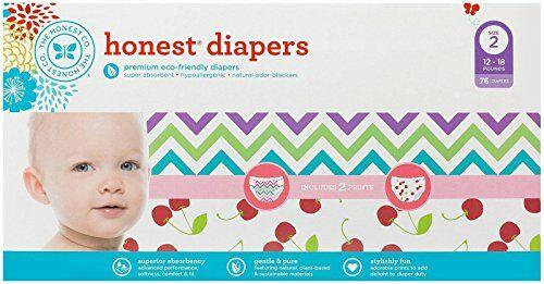 050024d26 Honest Diaper Club Box, Chevron & Cherries, Size 2, 76 Count
