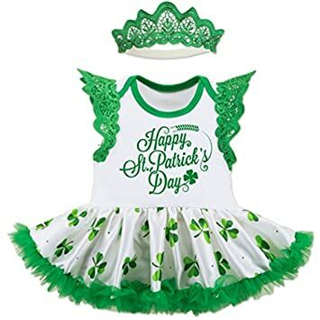 4a54ea37e Patrick's Day Outfit Tutu Dress For Baby Girls Cotton Clothing Set Infant  Irish Party Costume Sleeveless Dress With Green Shamrocks Printing (S,  Happy Day)