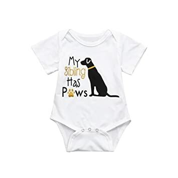 213c06973 Baby Bodysuit, Infant Funny Onesies Letter Pet Printed - My Sibling Has Paws  (White, 6M)