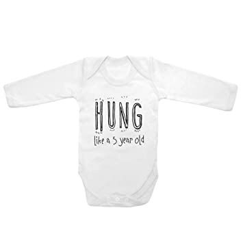 681562ac62 Long Sleeve Baby Tee Time Boys  Hung like a 5 year old funny One piece 6-12  months White