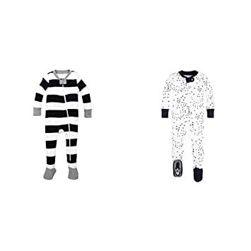 9c36857046df Burt's Bees Baby Baby Boys' 2 Pack Non-Slip Footed Sleeper Pajamas,  Midnight Rugby Stripe/Midnight Twinkle Bee, 3-6 Months