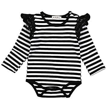 109f26b134d9 Newborn Baby Bodysuit Long Sleeve Striped Lace Rompers Girls Jumpsuit  Clothes (0-6 Months)