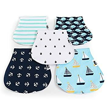 for Newborn Baby Muslin Burp Cloths Cloth Disper Soft and Extra Absorbent Organic Cotton Cloth Diapers Large 14x20 Muslin Baby Washcloths 5 in a Pack 6 Layers