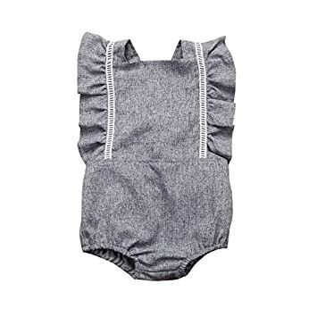 e320428d571fd Mornbaby Newborn Girl Clothes Baby Girl Ruffles Romper Lace Sleeveless  Outfit Grey Bodysuit Clothes (Grey