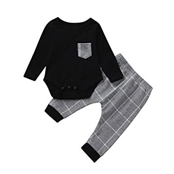 181960d0c6c8 2Pcs Baby Boy Girl Long Sleeve Plaid Tops Romper Pocket +Casual Harem Pants  Outfits Set Warm Gift 0-24 Months (Black