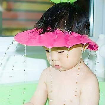 Baby Kids Soft Shampoo Bath Shower Cap Hat Waterproof Shield for Children  Blue (Pink) 052e69eba84