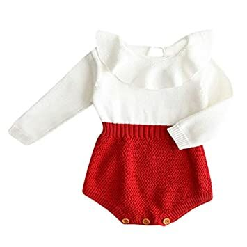 c7d95790211d Fuior Baby Girls Knitted Romper Ruffle Long Sleeve Sweater Dress Jumpsuit  Autumn Winter Casual Clothing