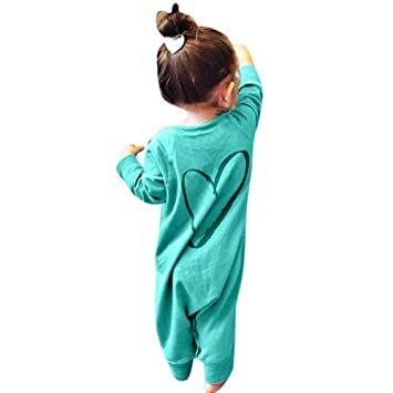 bac4d29af Botrong Newborn Infant Kids Baby Boys Girls Printing Romper Jumpsuit Outfits  Long Sleeve Clothes (0-6 Months, Green)