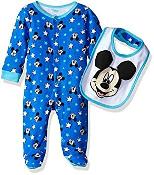 30af2f47f Disney Baby Boys' Mickey Mouse Footie Sleeper and Bib Or Hat Set, Princess  Blue, 3-6 Months
