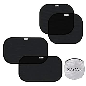 cf1f46351 Car Sun Shade (4 Pack),ZACAR Cling Car Window shade for Baby ,Car Sunshade  Protector,80 GSM Protect your baby in the back seat from sun glare and  heat,2 ...