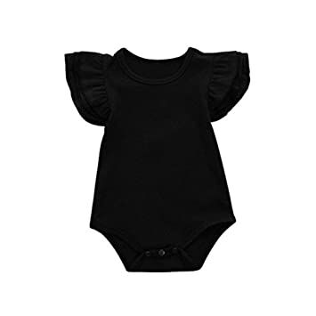 bb03f634eef97 Infant Baby Girl Basic Ruffle Romper Long Sleeve Cotton Bodysuit Tops  Clothes