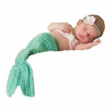 f891b6b3f3aab Greatech Newborn Baby Girls Mermaid Headband Bra Tail Crochet Photography  Prop - 0-6 Month