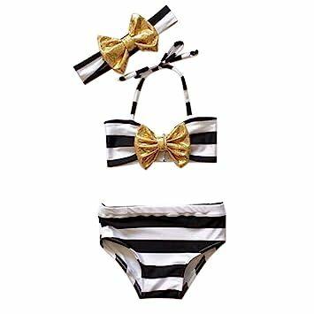 eee7fad421b AMA(TM) Newborn Kids Baby Girls Summer Bowknot Bikini Swimwear Swimsuit  Bathing Suit Beachwear (1/2T, Black)