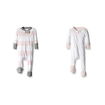 de8e2f775 Burt's Bees Baby Baby Girls' 2 Pack Non-Slip Footed Sleeper Pajamas,  Blossom Rugby Stripe/Blossom Twinkle Bee, 0-3 Months