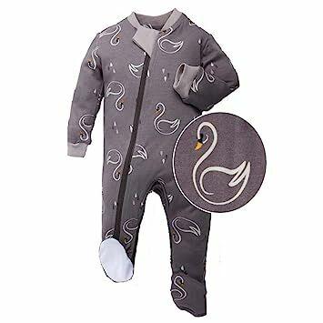 a62193753 ZippyJamz Organic Baby Footed PJs w/Inseam Zipper - Sweet Sleepy Swans (0-3  Mos)