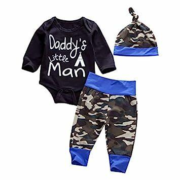 1e45d634e Newborn Daddy's Little Man Print Baby Boys Girls Romper +Camo Cotton Long  Pants +Hat Outfit (0-6Months, Black)