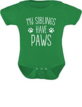 3bbb4a810 TeeStars - My Siblings Have Paws Funny One-Piece Infant Baby Bodysuit 6M  Green
