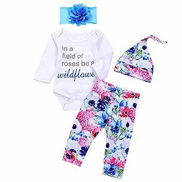 6ffa62ef65c 4Pcs Infant Baby Boy Girls Letters Long Sleeve Romper+Flower Pant+Hat+Headband  Warm Clothes (0-3Months
