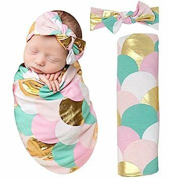 3dc8b9eda PoshPeanut Mermaid Baby Swaddle Blanket - Large Premium Knit Baby Swaddling  Receiving Blanket And Headband Set, Baby Shower Newborn Gift (Gold Scales)