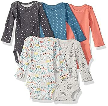 e4512a77b Simple Joys by Carter's Baby Girls 5-Pack Long-Sleeve Bodysuit,  Grey/Pink/Lime/Blue, 0-3 Months
