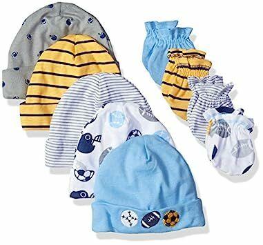 fe3b450a908 Gerber Baby-Boys Newborn 5 Pack Caps (0-6 months) and 4 Pack Mitten (0-3  months) Bundle