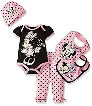 fa83a72d7 Disney Baby Minnie Mouse 5 Piece Layette Box Set, Black, 0-6 Months