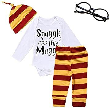 0fc6a0d2c Baby Boys Girls Snuggle This Rompers Bodysuit and Striped Pants Hat 4Pcs  Outfit with Glasses (Long Sleeve, 70 (0-6 Months))
