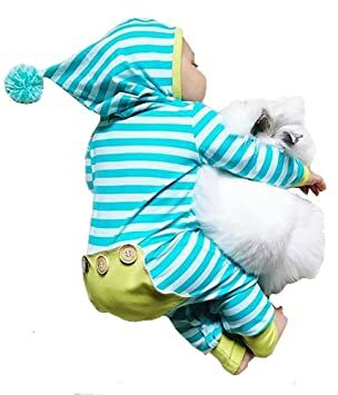 eead16b83 Newborn Baby Boy Girl Long Sleeve Striped Romper Bodysuit Hooded Outfit  Clothes