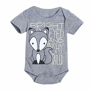 23befd1b848a Matoen(TM) Newborn Infant Baby Boys Girls Fox Letter Print Romper Jumpsuit  Outfits Clothes (0-6 months, Gray)