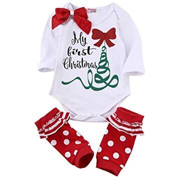4528cc79a Newborn Baby Boys Girls My First Christmas Rompers Tops Red Leg Warmer  Outfit (0-3M)