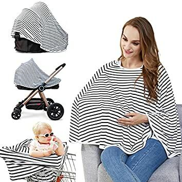 e6dd10f58 Baby Nursing Cover - Multi Use Breastfeeding Cover for Baby Carseat, 100%  Breathable Cotton, Lengthened Size Provide 360° Full Privacy  Protection-Best Baby ...
