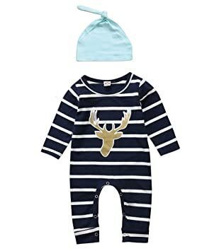 3e488b13cd83 Aliven 3pcs Set Newborn Baby Boys Girls Striped Long Sleeve Deer Tops Pants  Hat Outfits
