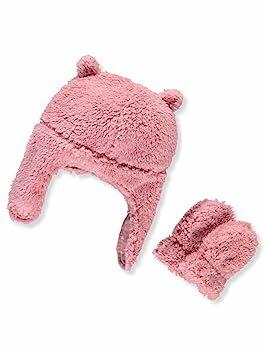 ccf1863d9 Carter's Baby Girls' Pilot Velboa Hat & Mitten Set (12-24 Months, Pink  Heart)