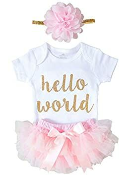 c613d5dc940aa XIAXAIXU Newborn Baby Girl Hello World 3 PCS Romper Jumpsuit + Shorts Pants  Outfits (0-3 Months, Pink)