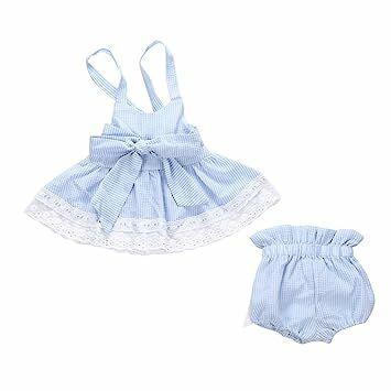 f077543fc Weixinbuy Toddler Baby Girls' Bikini Bowknot Stripe 2 Pieces Skirt Swimwear  Sets Blue